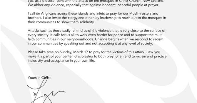Letter from Bishop Logan about the NZ Mosque Attack image