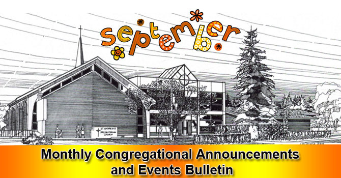 September 2018 Monthly Congregational Announcements and Events image