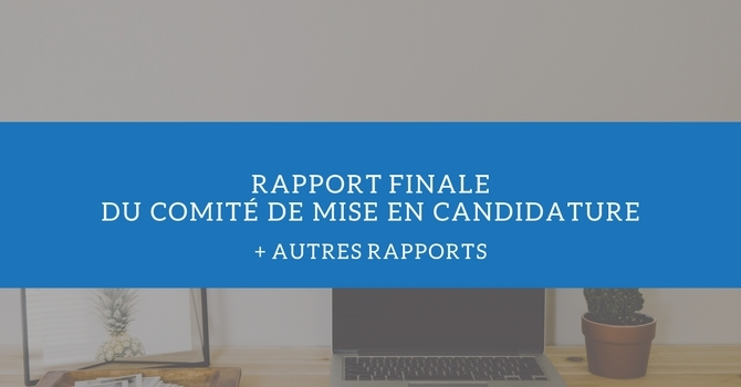 Rapport finale du Comité de mise en candidature + autres rapports image