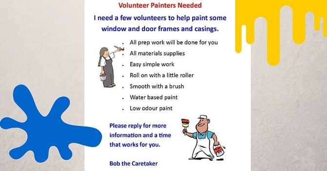 Volunteer Painters needed. image