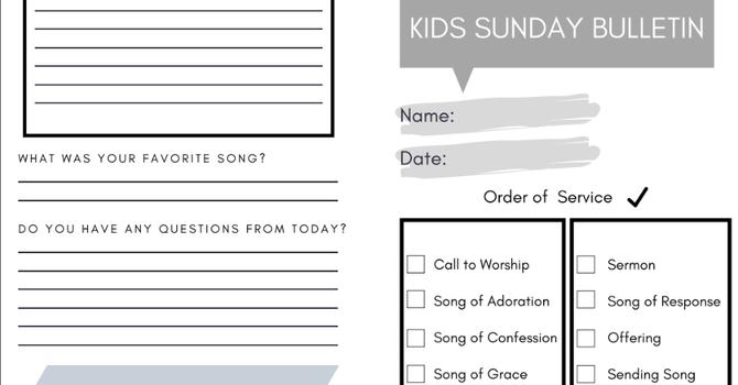 Kid's Sunday Bulletin (A Liturgy Guide) image