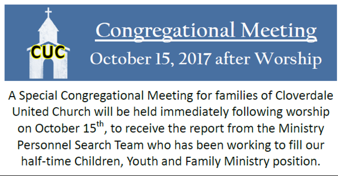 Congrerational Meeting on Oct 15, 2017 image