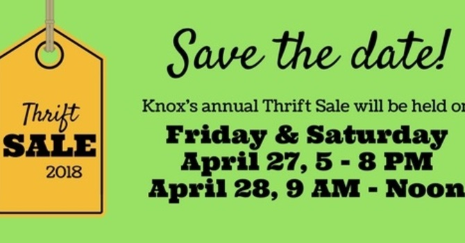 Save the Date!  Knox Thrift Sale 2018 image