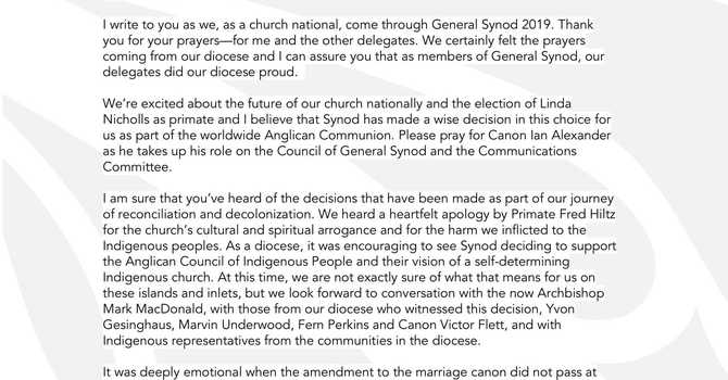 Letter from Bishop Logan in response to General Synod 2019 image