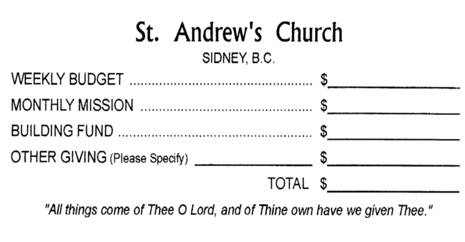 Church Office accepting offerings