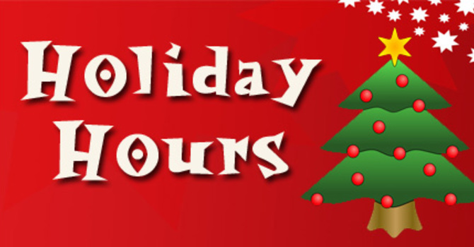 Holiday Hours for Church Office and Building image