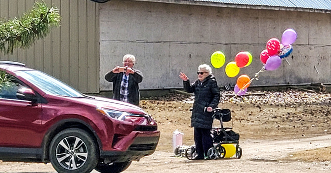 Edgerton Neighbours Celebrate St. Mary's Parishioner with 99th Birthday Parade image