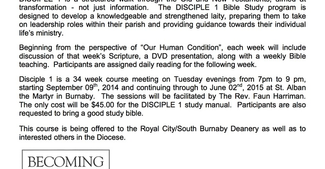 DISCIPLE Christian Formation Program at South Burnaby/Royal City Deanery image