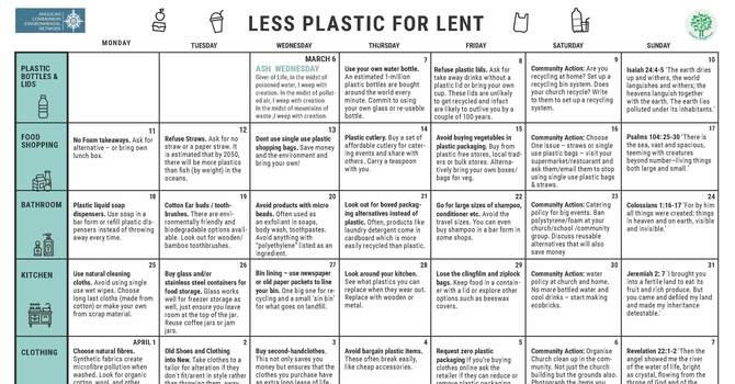 Less Plastics for Lent Calendar