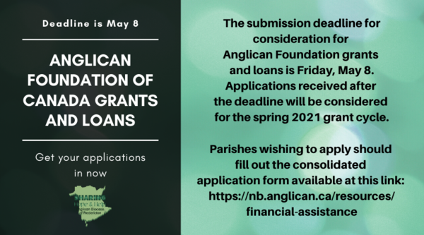 Anglican Foundation grant application deadline is Friday!