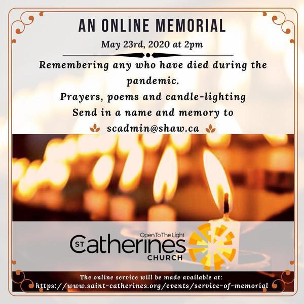 Service of Memorial – May 23rd, 2020 at 2pm.