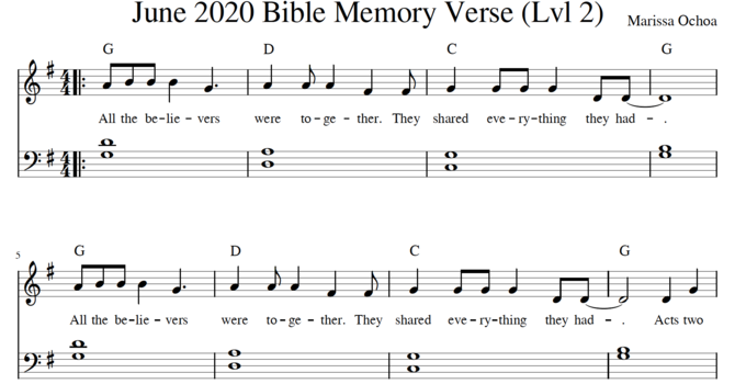 June Memory Verse Sheet Music image