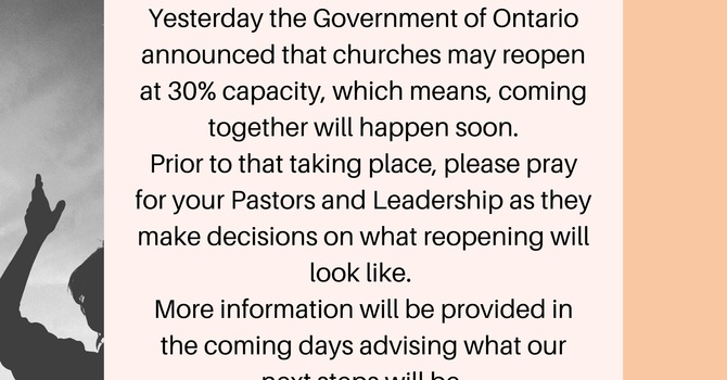 Church Reopening Update - June 9, 2020