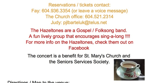 Tea and Hazeltones Concert at St. Mary's, Sapperton image
