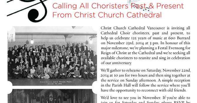 Calling All Former Christ Church Cathedral Choristers image