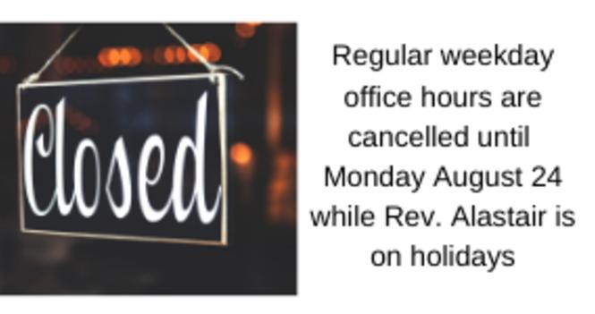 Rev. Alastair's August holidays