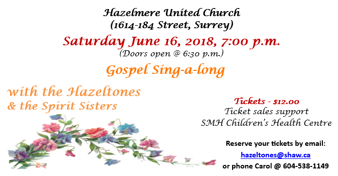 Gospel Sing-a-long  (Sat, June 16, 2018 at 7 pm) image