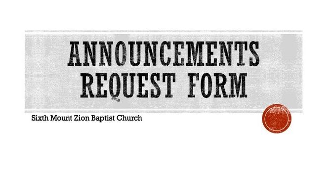 Announcements Request Form