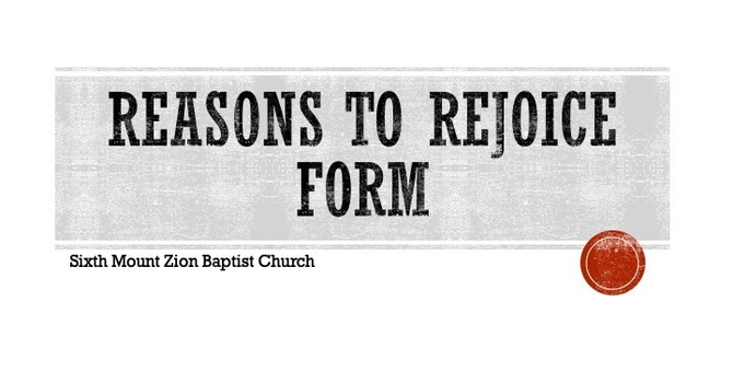 Reasons to Rejoice Form