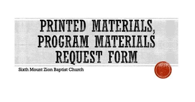 Printed Materials, Flyers, Program Design Request Form