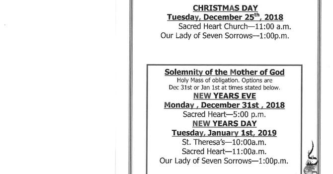 Mass Times  Dec 21, Christmas, & New Year's image