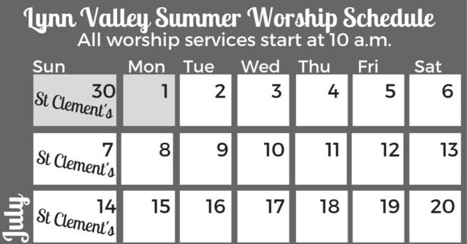 Summer worship schedule image