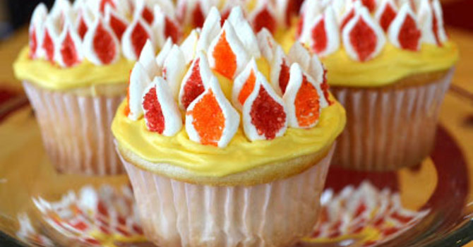 Flaming Cupcakes for Pentecost image