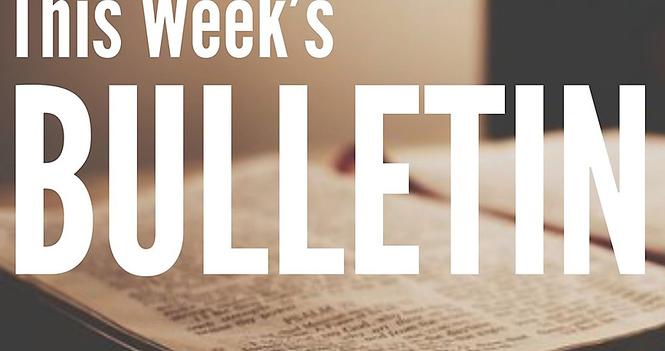 Bulletin for Sunday, October 18, 2020