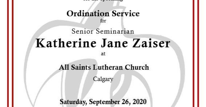 Ordination Service of Kate Zaiser