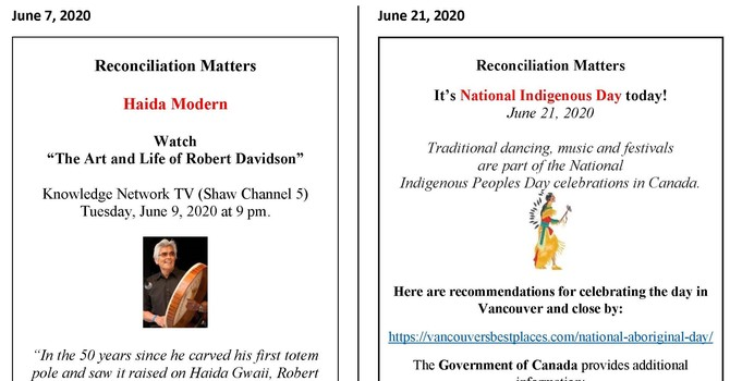 Reconciliation Matters - Bulletin inserts from 2019-2020