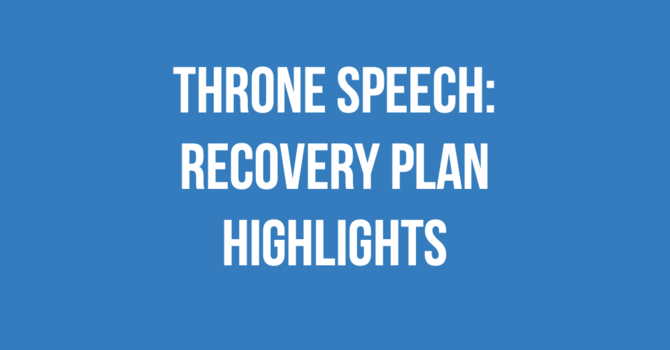 Throne Speech: Recovery Plan Highlights image