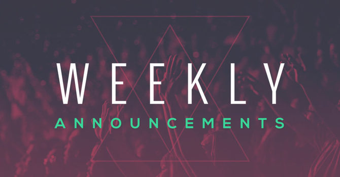 Weekly Announcements September 27th, 2020 image