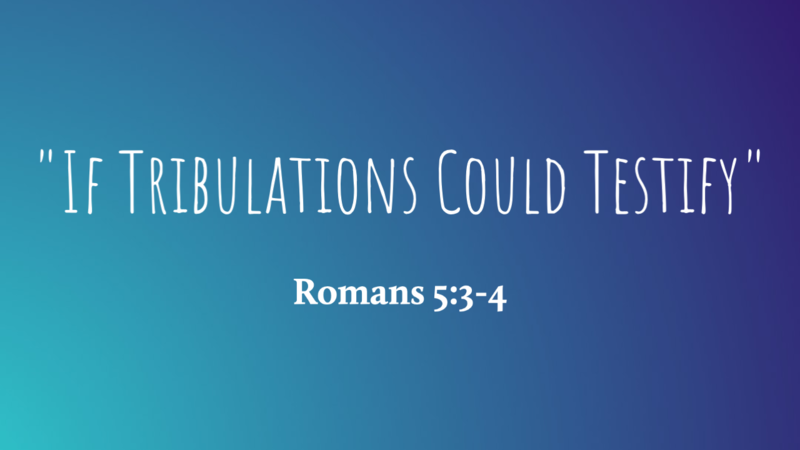 """""""If Tribulations Could Testify"""""""