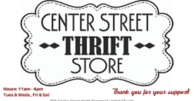 Centre Street Thrift Store Open 11 AM - 4 PM