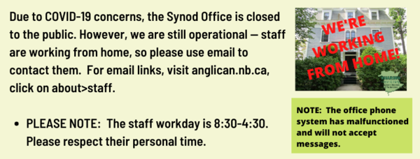 The Diocese is operational and working from home!