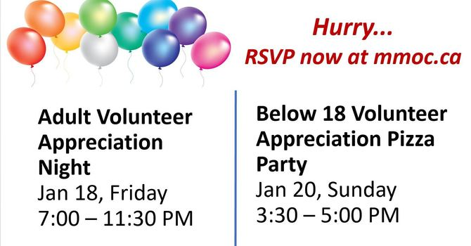 Volunteer Appreciation Events - Jan 18 & 20 Register by Jan 15!