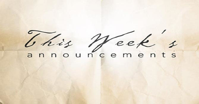 Weekly Announcements image