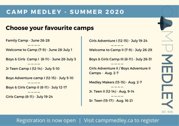 Camp Medley summer camp schedule