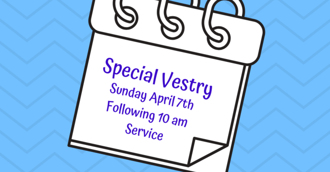 Special Vestry - Sunday April 7th, following the 10 am service image