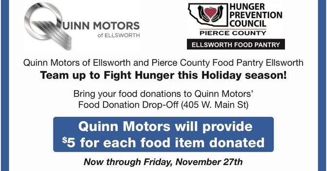 Bring your food donations to Quinn Motors of Ellsworth through November 27