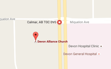 Map to Devon Alliance Church in Devon, AB