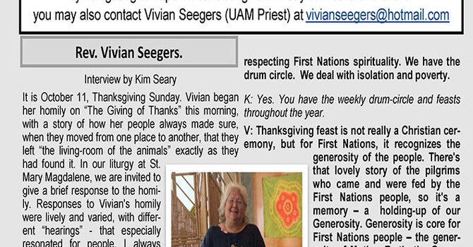 Urban Aboriginal Ministry (UAM) October Newsletter image