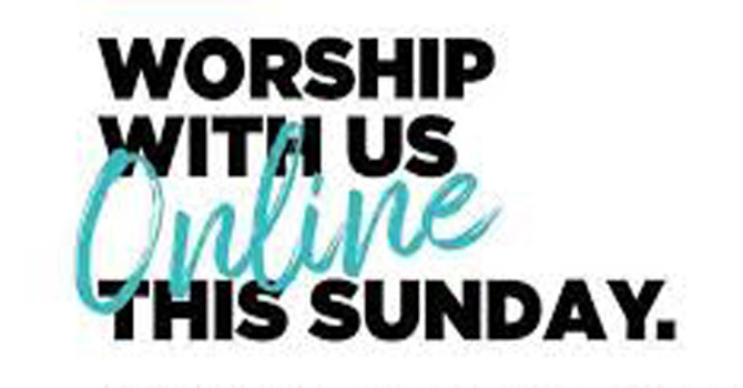 """Look under the """"SERMONS"""" tab to find our Current and Past Online Worship Services image"""