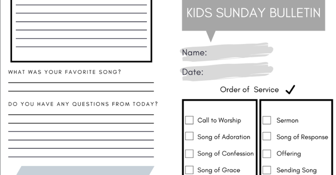 Kid's Sunday Bulletin (A Liturgy Guide) image