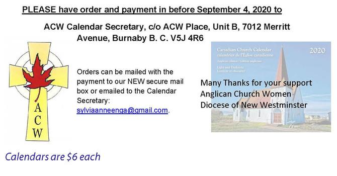 Canadian Church Calendars  - Order Now!