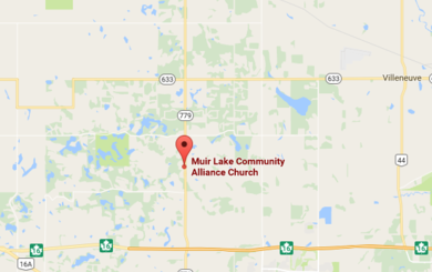 Map to Muir Lake Community Alliance Church in (4 kms North of Hwy 16 on Hwy 779),