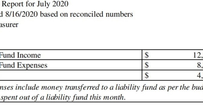 July 2020 Treasurer's Report image
