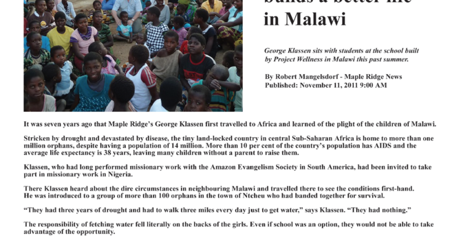 Maple Ridge News: Maple Ridge charity builds a better life in Malawi image