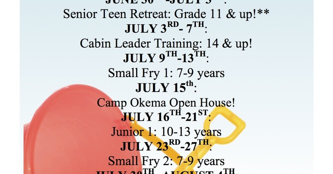 Camp Okema Summer Schedule 2017 image