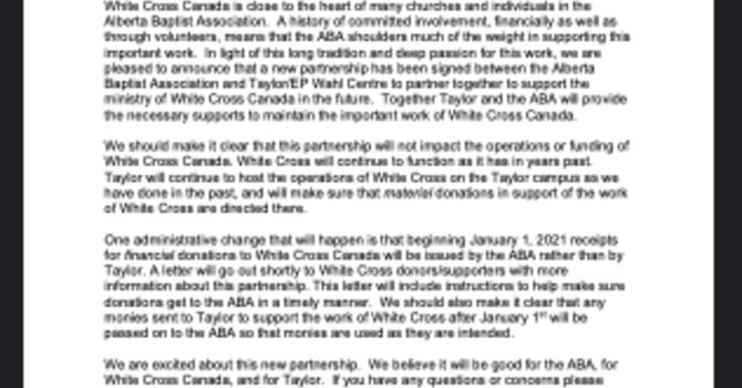 WHITE CROSS PARTNERSHIP ANNOUNCEMENT